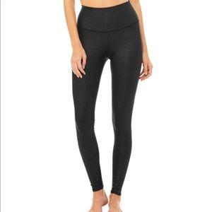 "ALO high waist airbrush leggings in black ""leather"
